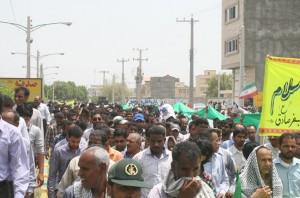حضور  پرشور مردم مؤمن و روزه دار رودان در راهیپیمایی آخرین جمعه ماه صیام
