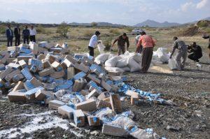 کشف بیش از ۹۸ هزار شیر و۲ تن و ۵۰۰ کیلوگرم برنج فاسد در مدارس رودان +تصویر