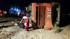 واژگونی اتوبوس دانش آموزان دختر در داراب/ علت واژگونی اتوبوس دانش آموزان مشخص شد/ اعلام اسامی جانباختگان و مصدومان +تصاویر