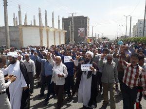 تظاهرات نمازگزاران رودانی در محکومیت عهدشکنی های آمریکا